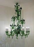 Candeliere verde di vetro di Murano Fotografia Stock