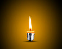 Candellight in bulb. Creative Thinking With Brainstorming, wax candle into lighting bulb Stock Image