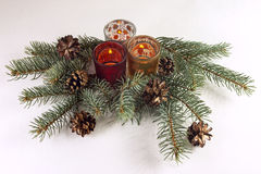 Candels and christmas tree. On the white background Stock Photography