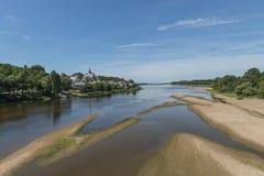 Canders圣马丁卢瓦尔河沙子海滩 免版税图库摄影