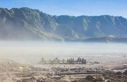 Candi Bentar temple from crater of mount Bromo Stock Photo