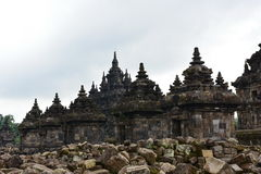 Candi Plaosan historisk buddistisk tempel Royaltyfri Foto