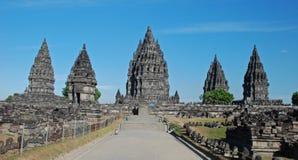 Candi Prambanan - Hindoese tempelsamenstelling - Java stock foto's