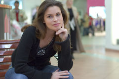Candid casual portrait in a city mall Royalty Free Stock Images