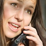 Candid cell phone conversation Stock Photo