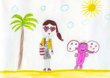 Fashion girl. Candid children color pencil drawing with serious fashion girl and pink elephant outdoors royalty free illustration