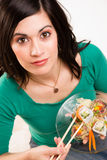 Candid Close Portrait Cute Brunette Woman Raw Food Sushi Lunch Stock Photos