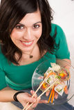 Candid Close Portrait Cute Brunette Woman Raw Food Sushi Lunch Stock Photo