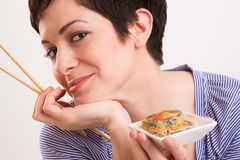 Candid Close Portrait Cute Brunette Woman Raw Food Sushi Lunch Royalty Free Stock Photo