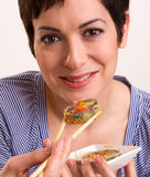 Candid Close Portrait Cute Brunette Woman Raw Food Sushi Lunch Royalty Free Stock Photography