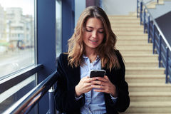 Candid female using telephone Stock Image