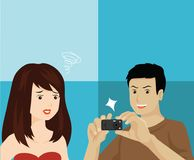Candid Photo Annoying Moment Vector Illustration. For any purpose such as cover book and illustration book, website and blog, etc Royalty Free Illustration
