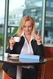 Candid photo of a middle-aged blond businesswoman Royalty Free Stock Image