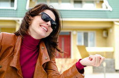 Candid Photo of a Woman in Shades Royalty Free Stock Images