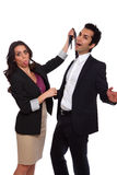 Candid playful Business people. Playfull business people at the studio royalty free stock image
