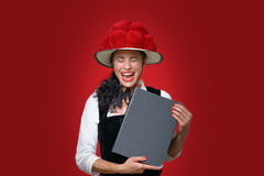 Candid portrait of laughing Black Forest waitress Royalty Free Stock Photography