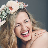 Candid portrait of a laughing bride Stock Photos