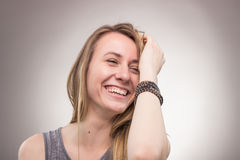 Candid portrait, smiling happy young woman Stock Images