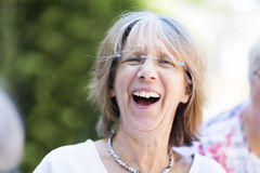 Candid senior woman portrait laughing Stock Photography