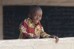 Gorgeous African Child Smiles at School Banner Background stock photos