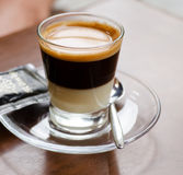 Candid shot of espresso in glass Stock Image
