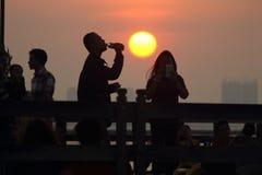 Candid sunset. Sunset ancol beach Stock Photo
