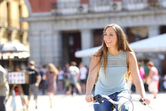 Candid tourist cyclist sightseeing Royalty Free Stock Photography