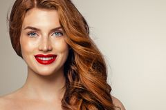 Candid woman with freckles and ginger hair. Natural redhead girl lifestyle portrait.  stock photos