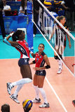 Candida arias. The domincan player candida aria attack in the world cup volleyball match dominican republic vs belgium played at bari in italy.1/10/15 stock photo