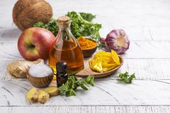 Candida diet food. Assortment of food that fights candida. Copy space stock photo