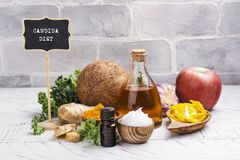 Candida diet food. Assortment of food that fights candida. Copy space royalty free stock photos