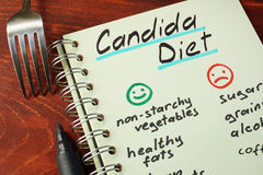Candida diet. With list of foods written on a note stock images