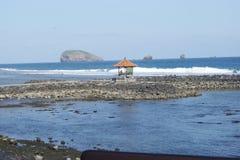 Candidasa海滩在巴厘岛,印度尼西亚 免版税库存图片
