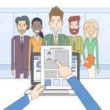 Candidat Job Position, cv de recrutement de prise de mains illustration stock