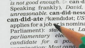 Candidat, page s'ouvrante de vocabulaire d'étudiant, campagne électorale présidentielle banque de vidéos