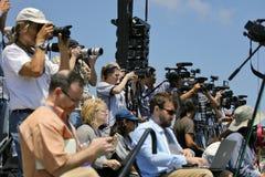 Candidat présidentiel Bernie Sanders de couverture nationale de presse aux RP Images stock
