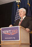 Candidate Newt Gingrich gives speech. Royalty Free Stock Images