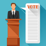 Candidate of party involved in debate. Political elections illustration for banners, web sites, banners and flayers Stock Image