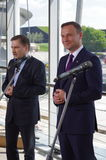 Candidate for the Polish President Andrzej Duda and unionist Piotr Duda Stock Photo