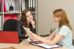 A candidate for the position, and specialist personnel to conduct interviews stock photography