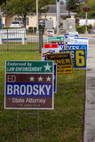 Candidate signs outside polling place during presidential election Stock Photography