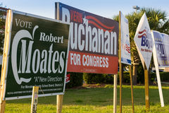 Candidate signs on public corner in advance of general election Royalty Free Stock Photo
