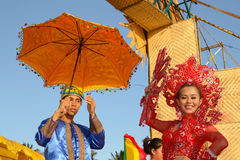 Candidate smiles. MANILA, PHILIPPINES - APR. 14: pageant contestant in her cultural dress pauses during Aliwan Fiesta, which is the biggest annual national Stock Images