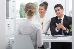 Candidate during successful job interview Royalty Free Stock Photography