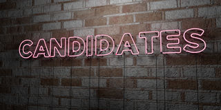 CANDIDATES - Glowing Neon Sign on stonework wall - 3D rendered royalty free stock illustration. Can be used for online banner ads and direct mailers royalty free illustration