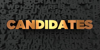 Candidates - Gold text on black background - 3D rendered royalty free stock picture. This image can be used for an online website banner ad or a print postcard royalty free illustration