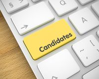 Candidates - Message on Yellow Keyboard Button. 3D. Business Concept: Candidates on Modern Laptop Keyboard Background. Slim Aluminum Keyboard Button Showing the stock illustration
