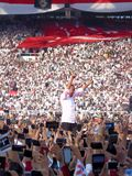 Candidates for President Joko Widodo campaign in front of hundreds of thousands of supporters at GBK Senayan. stock image