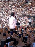 Candidates for President Joko Widodo campaign in front of hundreds of thousands of supporters at GBK Senayan. royalty free stock image