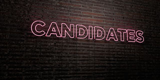 CANDIDATES -Realistic Neon Sign on Brick Wall background - 3D rendered royalty free stock image. Can be used for online banner ads and direct mailers stock illustration